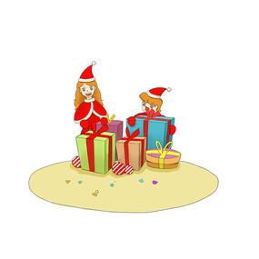 原创手绘卡通圣诞节圣诞礼物插画