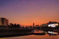 济南泉城广场夕阳西下